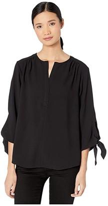 Nic+Zoe Drama Tie Blouse (Black Onyx) Women's Clothing