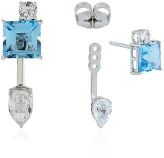 Artisan 18kt White Gold Ear Jacket Earring Sapphire and Topaz Gemstone Jewelry for Women Black Friday Sale