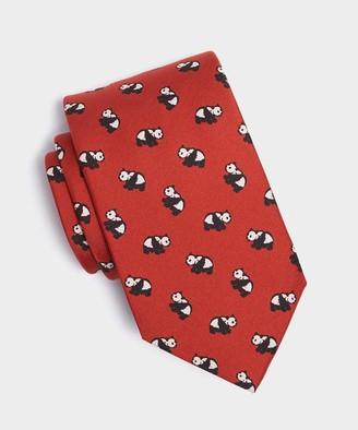 Drakes Red Panda Print Silk Tie