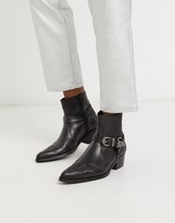Asos Design DESIGN cuban heel chelsea western boots in black leather with buckle and hardware detail
