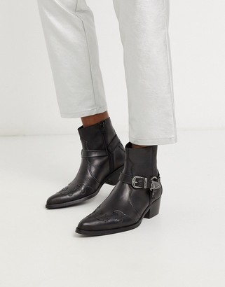 Asos DESIGN cuban heel chelsea western boots in black leather with buckle and hardware detail