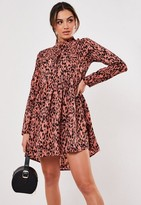 Missguided Pink Leopard Print Dip Back Shirt Smock Dress