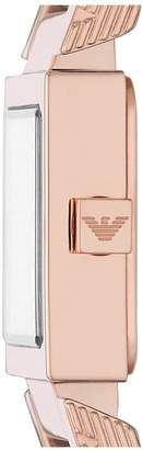 Emporio Armani Crystal Set and Rose Gold Detail Square Dial Nude Leather Strap Ladies Watch