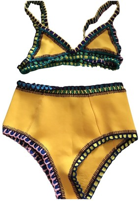 Kiini Yellow Lycra Swimwear