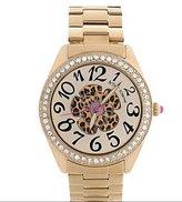 Betsey Johnson Watch, BJ00048-52 Gold-Tone Leopard Flower Boyfriend Watch
