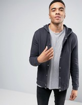 Asos Hoodie With Snaps In Washed Black