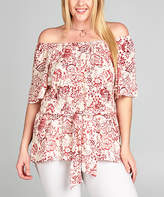Tua White & Red Floral Off-Shoulder Top - Plus