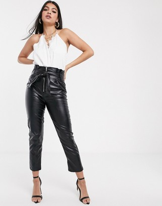 Parallel Lines paperbag waist faux leather trousers with zip detail-Black