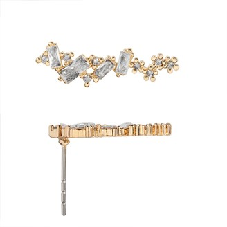 Lauren Conrad Gold Tone & Cubic Zirconia Nickel Free Baguette Ear Crawler Earrings