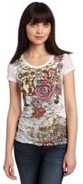 Southpole Juniors Zebra Base Burn Out Side Ruched Floral Tee
