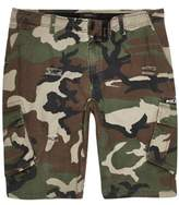 River Island Mens Dark green camo slim fit cargo shorts