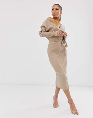 Asos Design DESIGN super soft rib belted fallen shoulder midi dress in camel-Beige