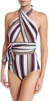 Karla Colletto Palazzo Cross-Halter One-Piece Swimsuit
