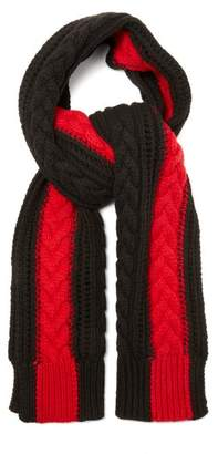 Alexander McQueen Cable Knit Cashmere Scarf - Womens - Black