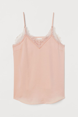 H&M MAMA Lace-trimmed satin top