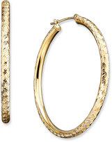 14k Gold Diamond-Cut Hoop Earrings