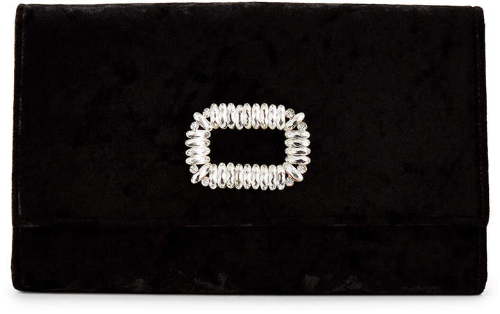 Jessica McClintock Black Nora Stone Flap Velvet Clutch