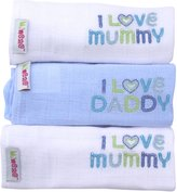 Minene I Love Mummy/I Love Daddy Embroidered Muslin Squares (White/Blue/White,Set of 3)
