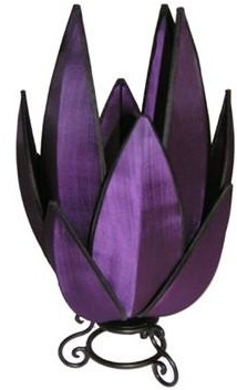 Rovan Artichoke Small Table Lamp Purple With Black Trim