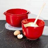 Crate & Barrel Rosti Luna Red Melamine Mixing Bowls with Lids Set