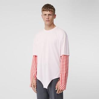 Burberry Gingham Sleeve Cut-out Hem Cotton Oversized T-shirt