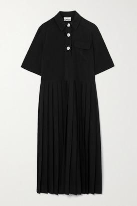 Ganni Crystal-embellished Pleated Woven Midi Shirt Dress - Black