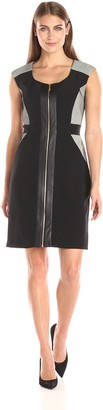 Sandra Darren Women's Sleeveless Mixed Media Sheath Dress with Front Zipper