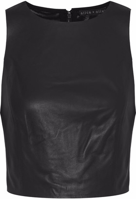 Alice + Olivia Cropped Paneled Leather And Mesh Top