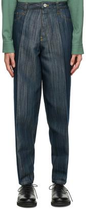Issey Miyake Navy Flat Jeans