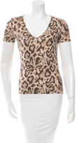 Dolce & Gabbana Snake Printed V-Neck Top