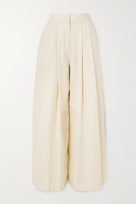 KING & TUCKFIELD Pleated Wool-twill Wide-leg Pants - White
