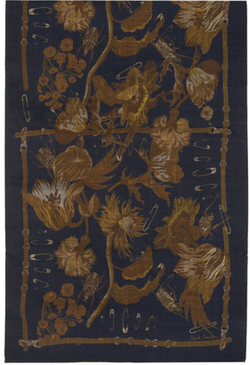 Paul Smith Navy and Tan Beetle Botanical Scarf