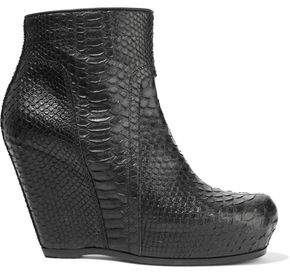 Rick Owens Python Wedge Ankle Boots
