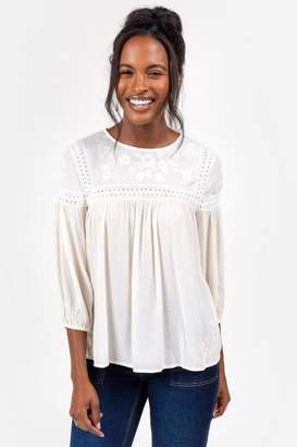 francesca's Devin Embroidered Peasant Top - Ivory