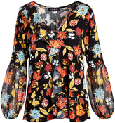 August Silk Black Floral Spice Ruffle-Front V-Neck Top