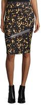 McQ Printed Zip Contour Skirt, Black