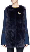 Yves Salomon Bird appliqué Rex rabbit fur long gilet