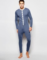 Asos Loungewear Grandad Onesie In Nepp Fabric With Woven Placket - Blue