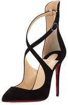 Christian Louboutin Marlenarock Crisscross Suede Red Sole Pump, Black
