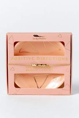 francesca's Lucky Feather Positive Directions Bracelet & Dish Set - Peach