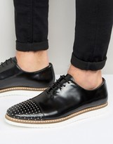 Asos Lace Up Shoes In Black Leather With Stud Toe Detailing