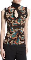 Fuzzi Sleeveless Butterfly-Print Ruffled Keyhole Top, Black Multi