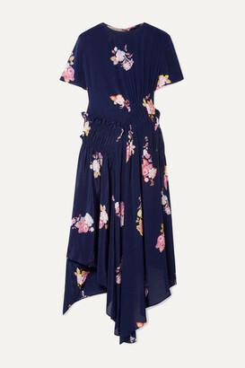 Preen Line Verna Asymmetric Ruched Floral-print Crepe De Chine Dress - Navy