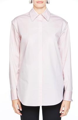 Area Crystal Collar Stretch Cotton Shirt