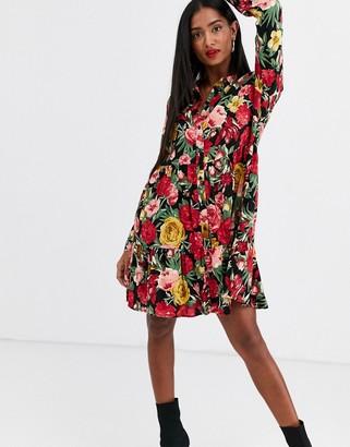 Stradivarius shirt dress in large floral print-Multi
