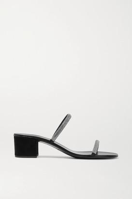 Giuseppe Zanotti Crystal-embellished Suede Mules - Black