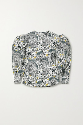 Etoile Isabel Marant Unatil Floral-print Cotton-voile Blouse - White