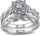 MODERN BRIDE 1/5 CT. T.W. Diamond Sterling Silver Bridal Ring Set