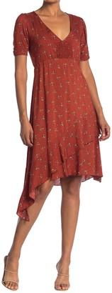 Velvet Torch Smocked Front Side Ruffle V-Neck Midi Dress