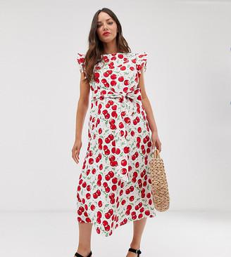 Glamorous Bloom midi dress with ruffle sleeves and tie waist in cherry print